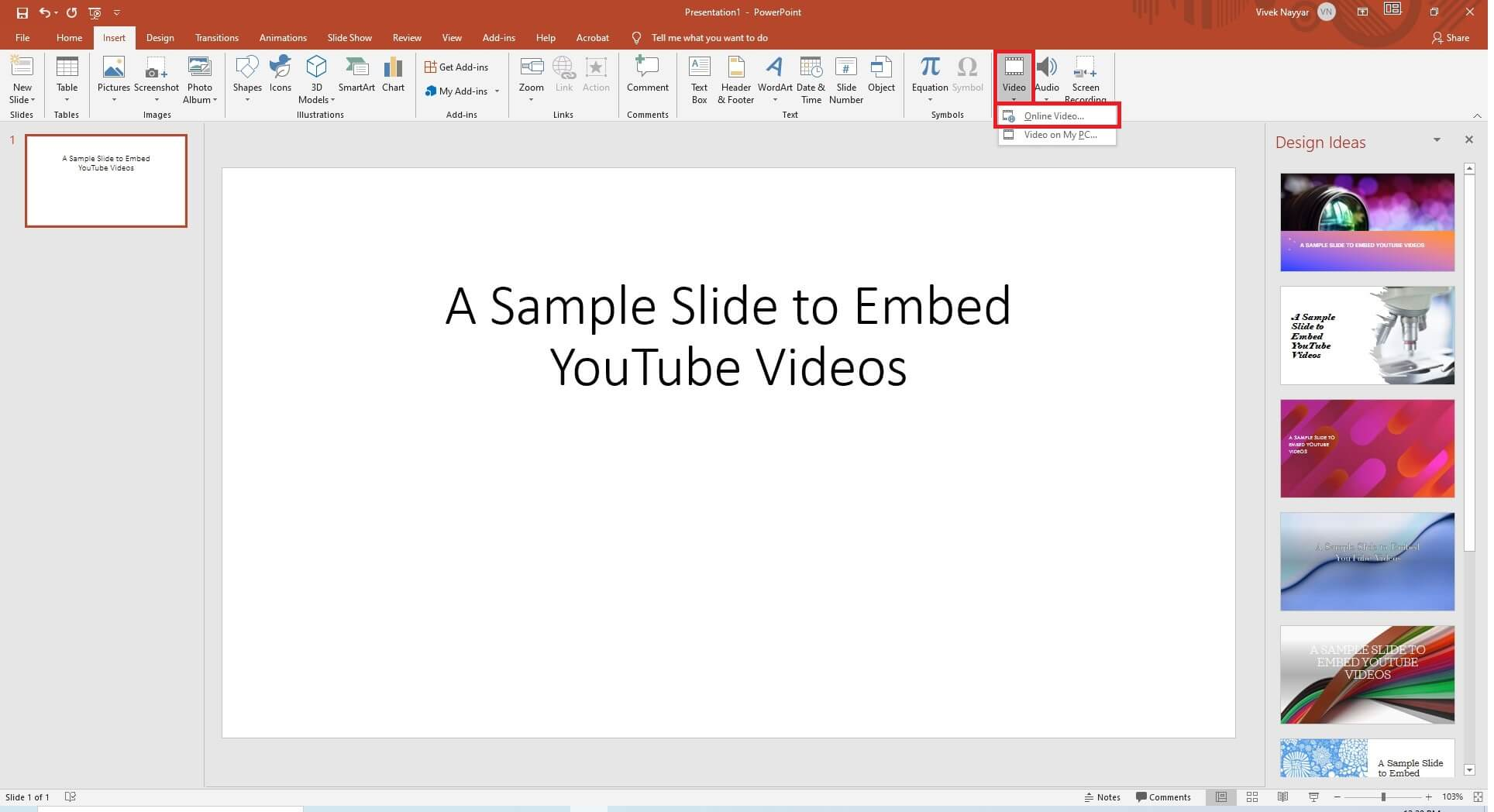 embed YouTube video to PowerPoint