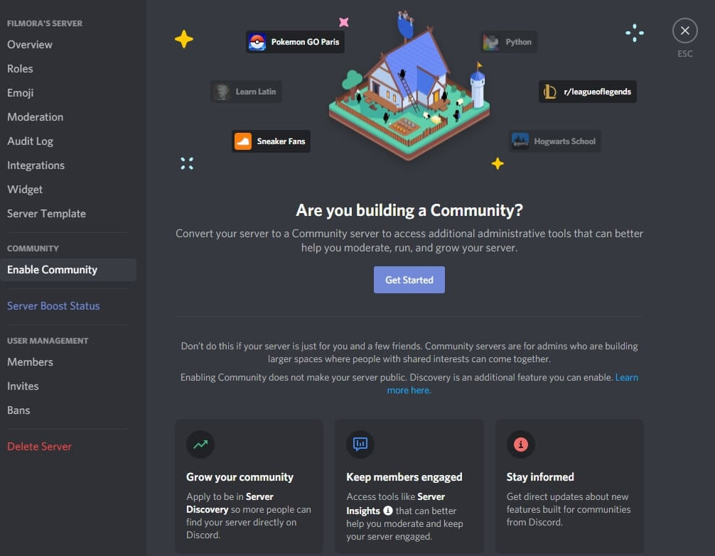 Enable Discord Community Interface
