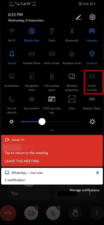 enable screen recording feature for Google Meet on android