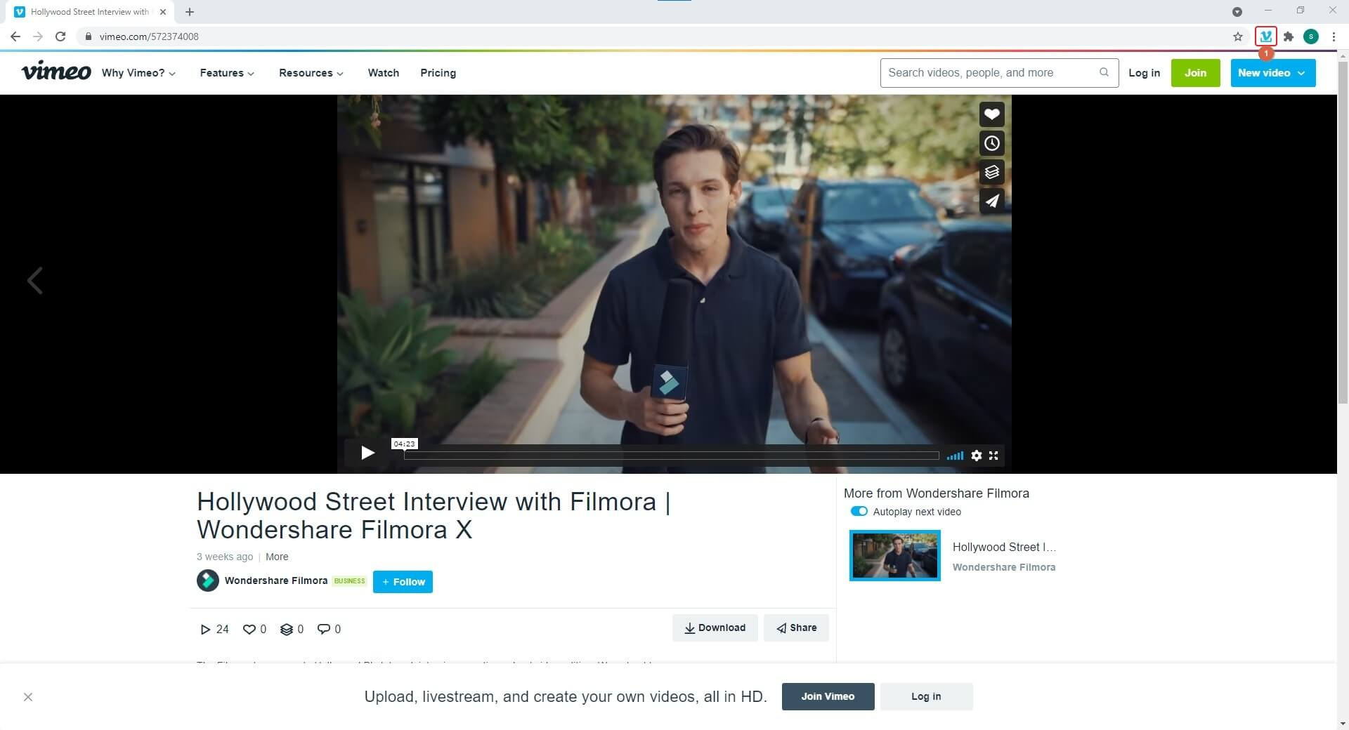 enable Simple Vimeo Downloader Extension