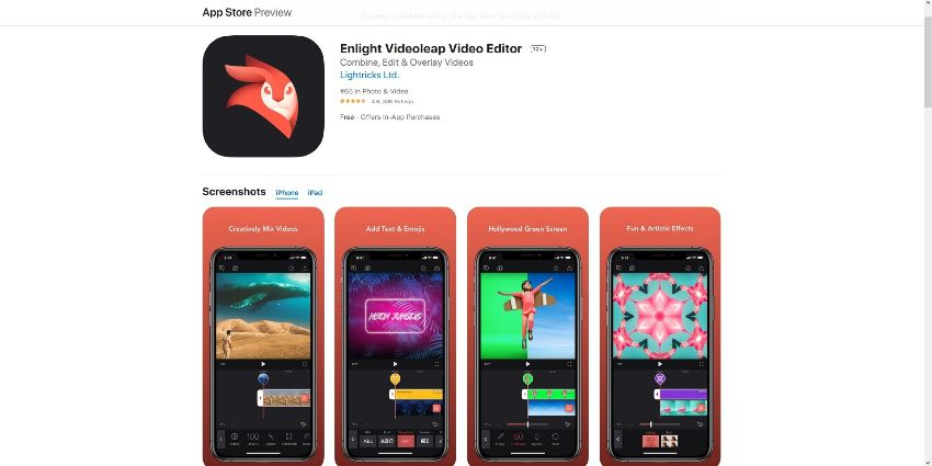 best vfx apps for  iOS -Enlight Videoleap Video Editor