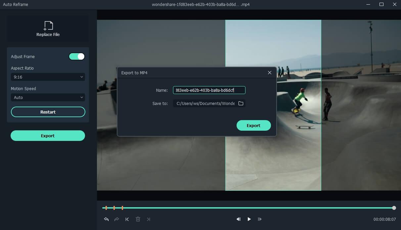Filmora export auto reframe video