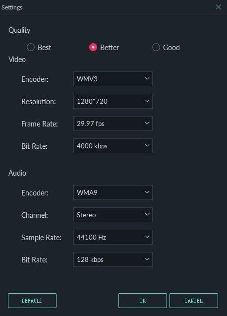 Change Frame Rate in Filmora