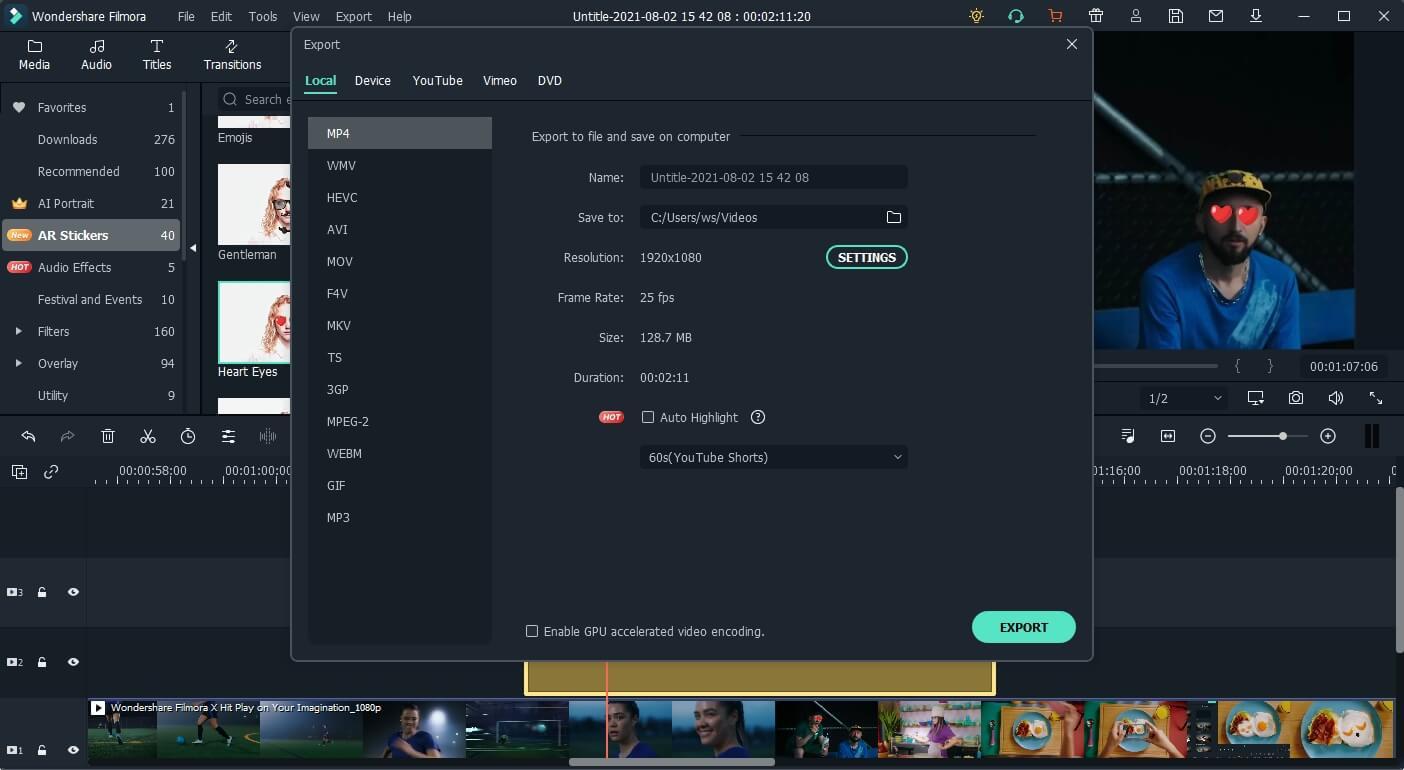 export video to Filmora