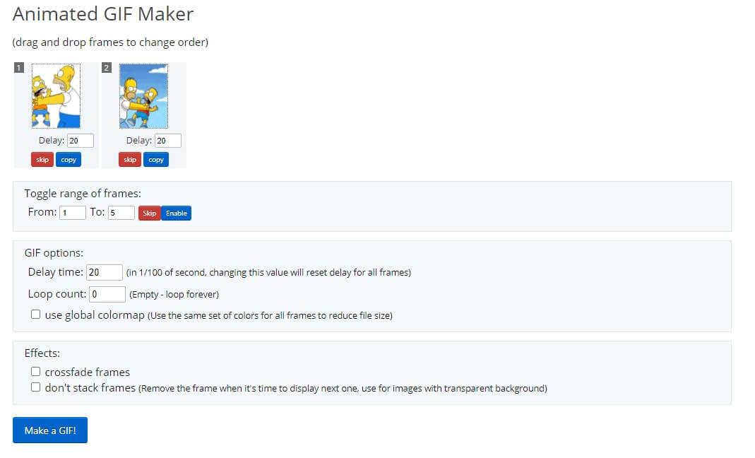EZGIF GIF Maker Loop Settings