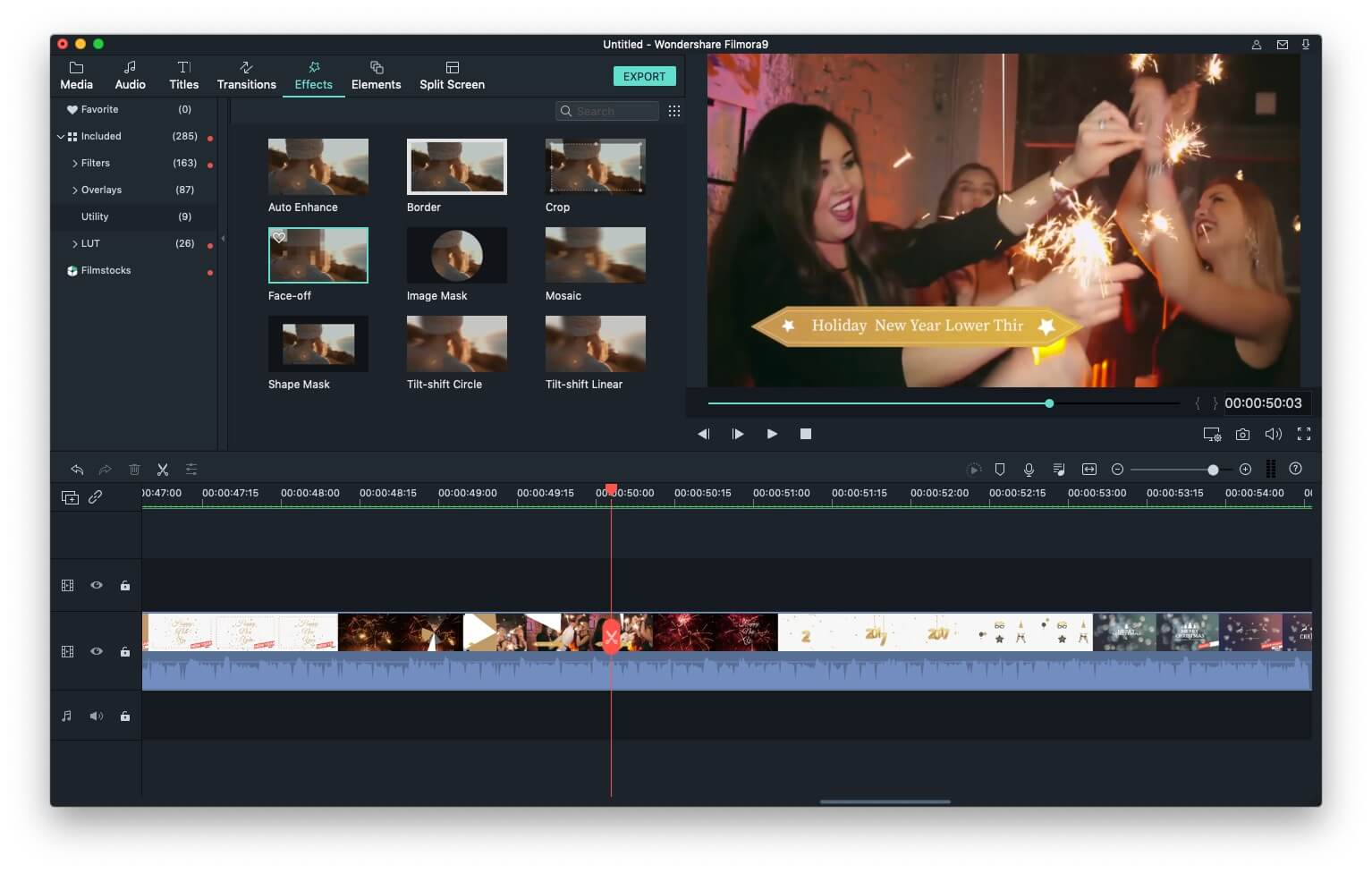 Filmora9 for Mac Face-off effect