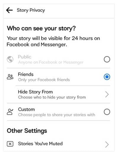 Facebook Story privacy