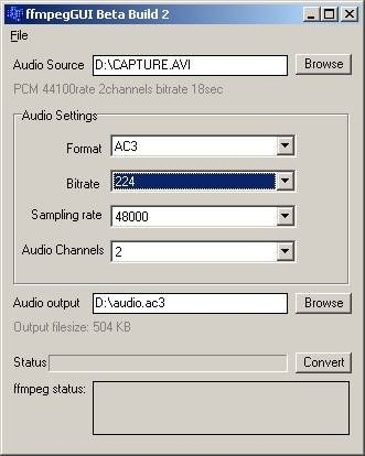 ffmpegguio convert mp2 to mp3