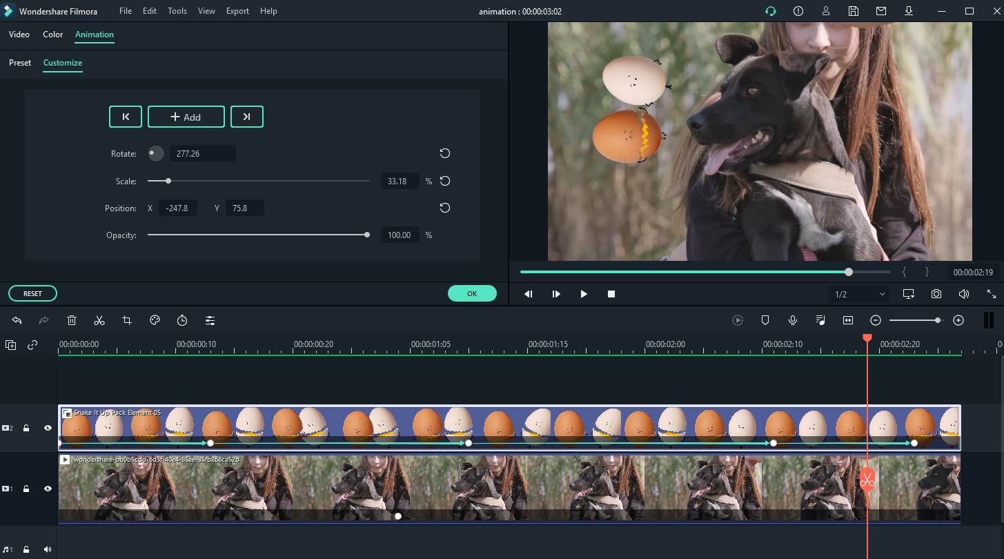 Filmora Keyframing Animation