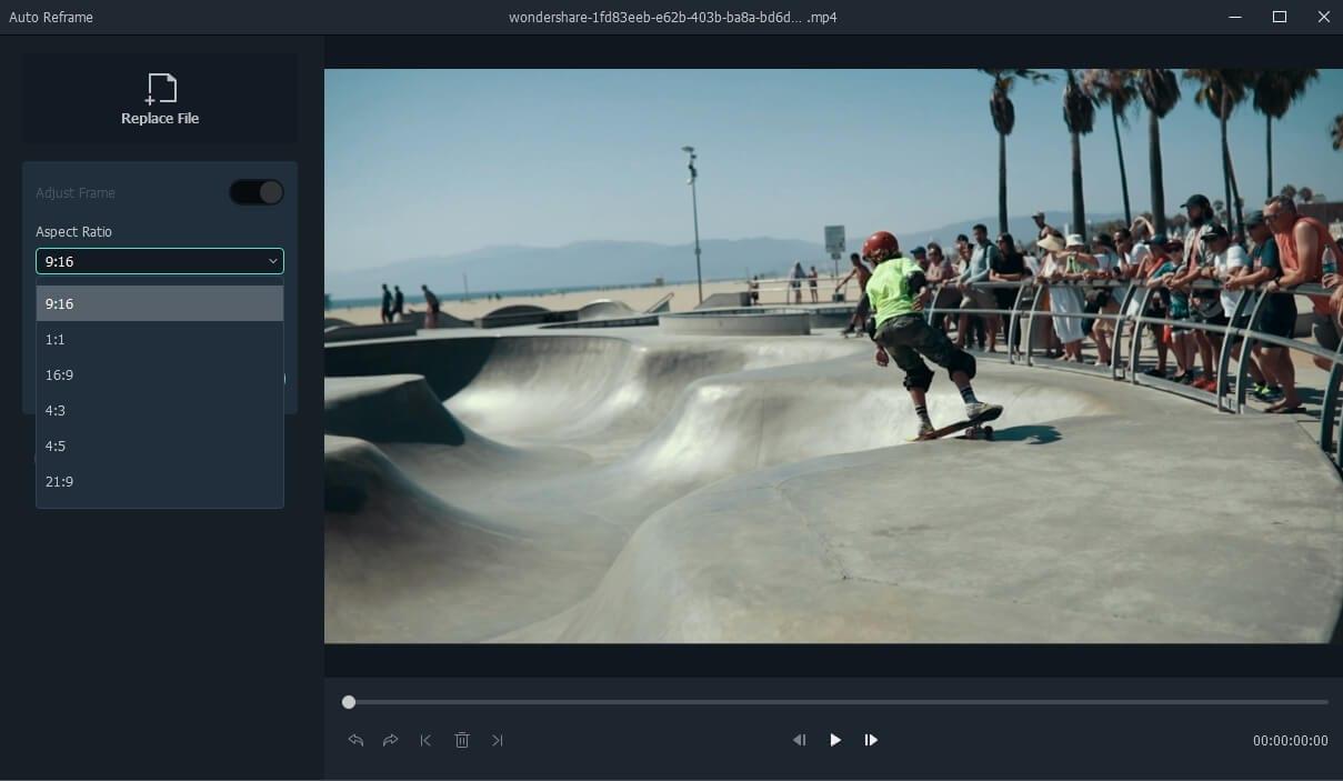 Filmora auto reframe editing