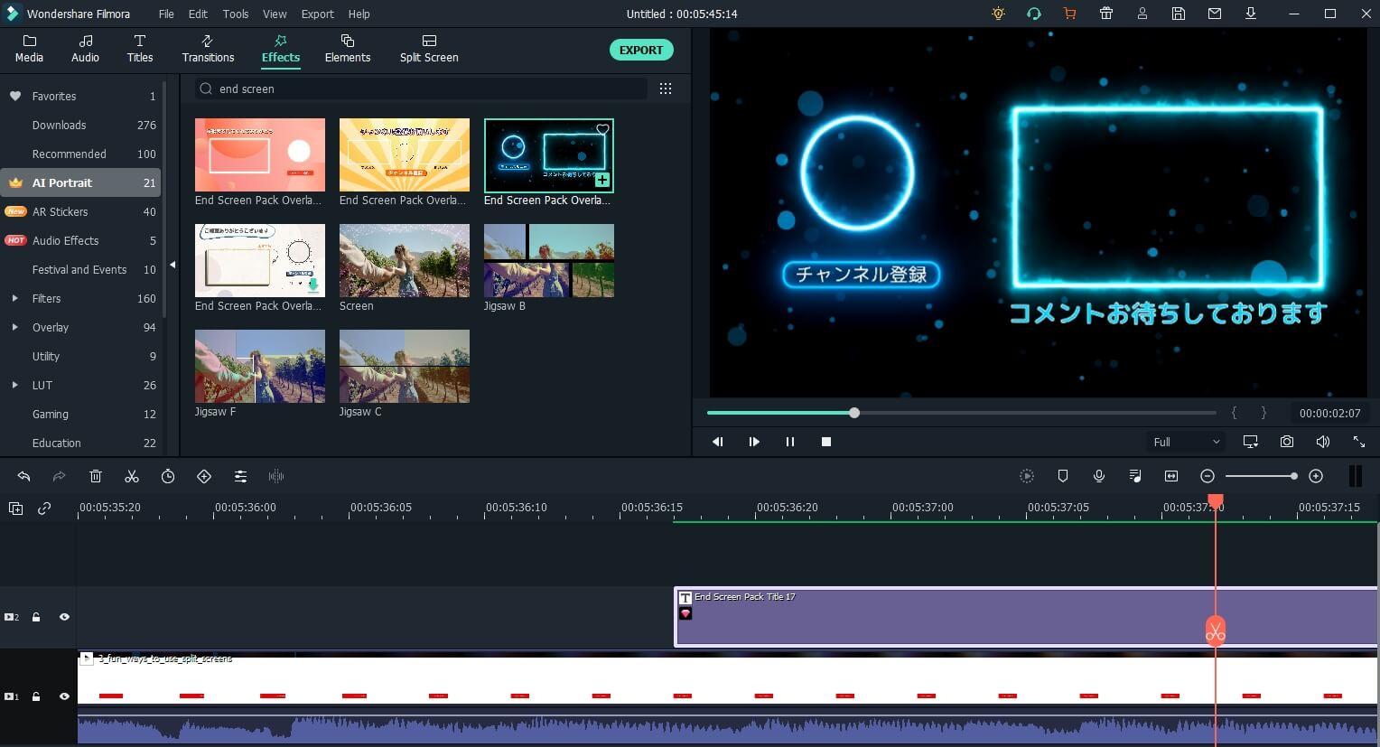 Filmora end screen assets