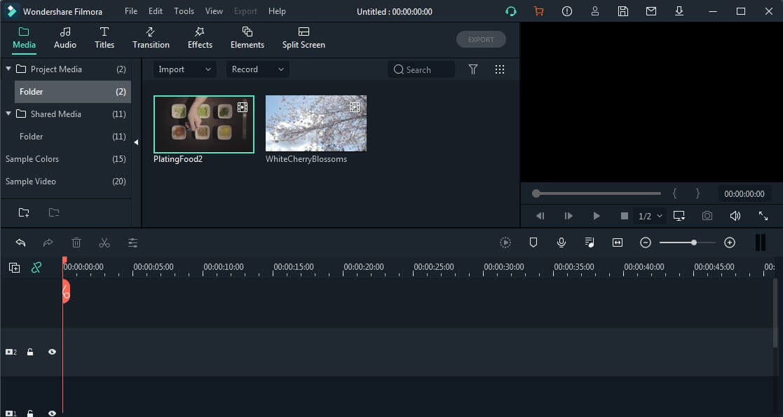 Filmora video editor editing interface