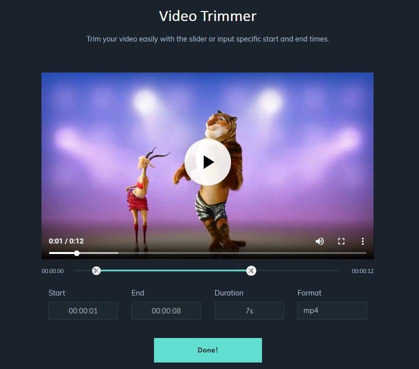 Filmora online trimmer interface