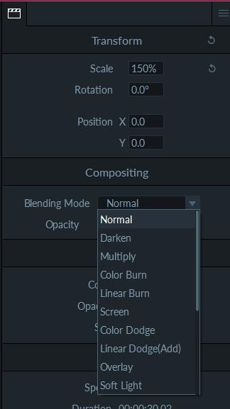 Filmora Scrn Blending modes