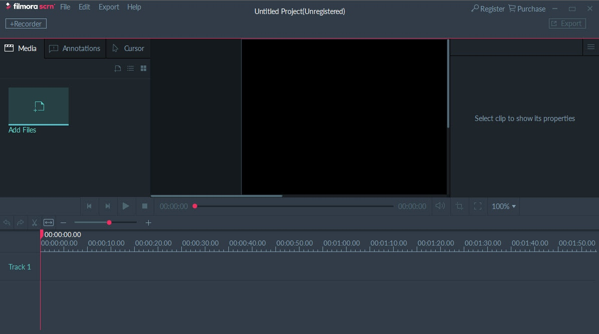 FilmoraScrn Interface