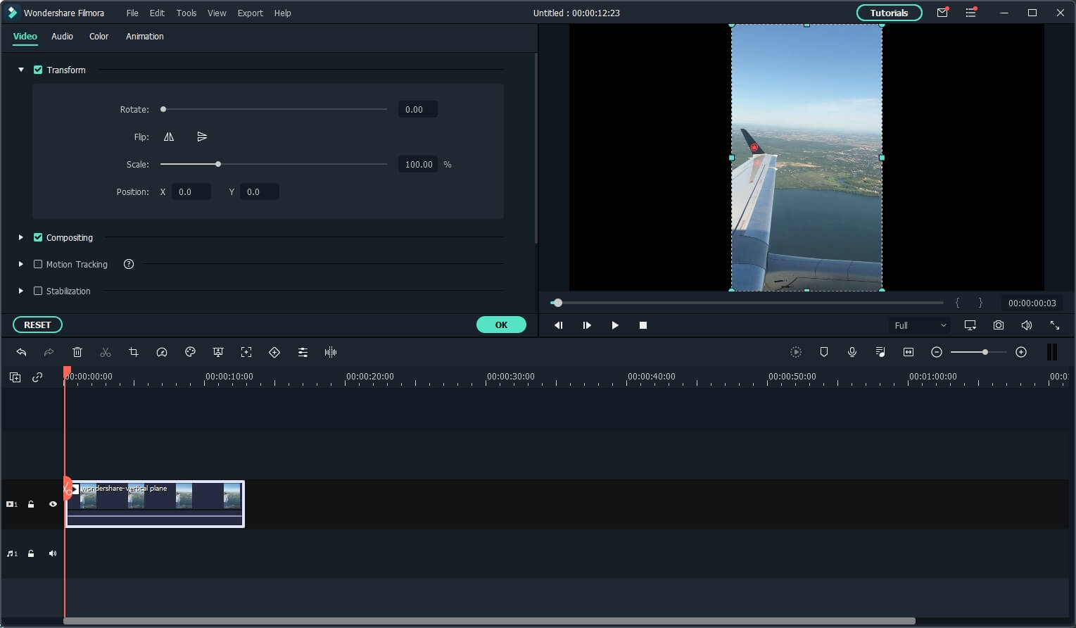 Filmora transform options