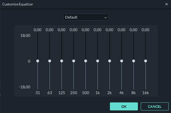 Filmora9 Customize Equalizer