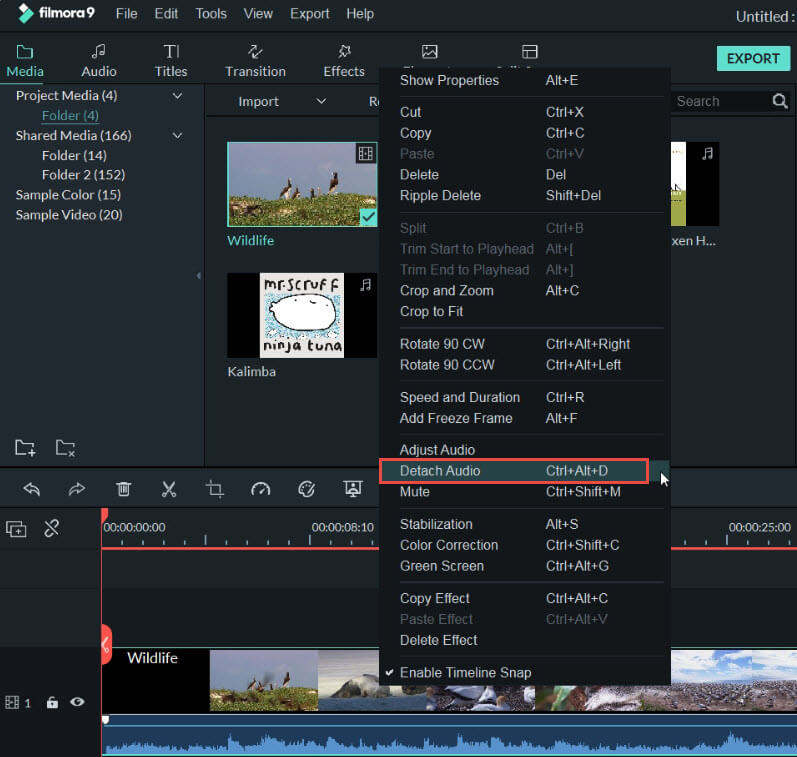 filmora9 separar audio