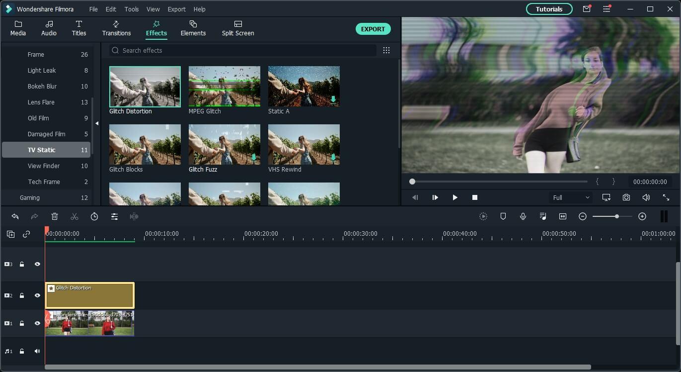 Filmora glitch overlay