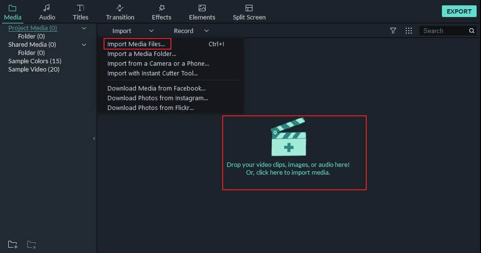 import videos into Project Media Library