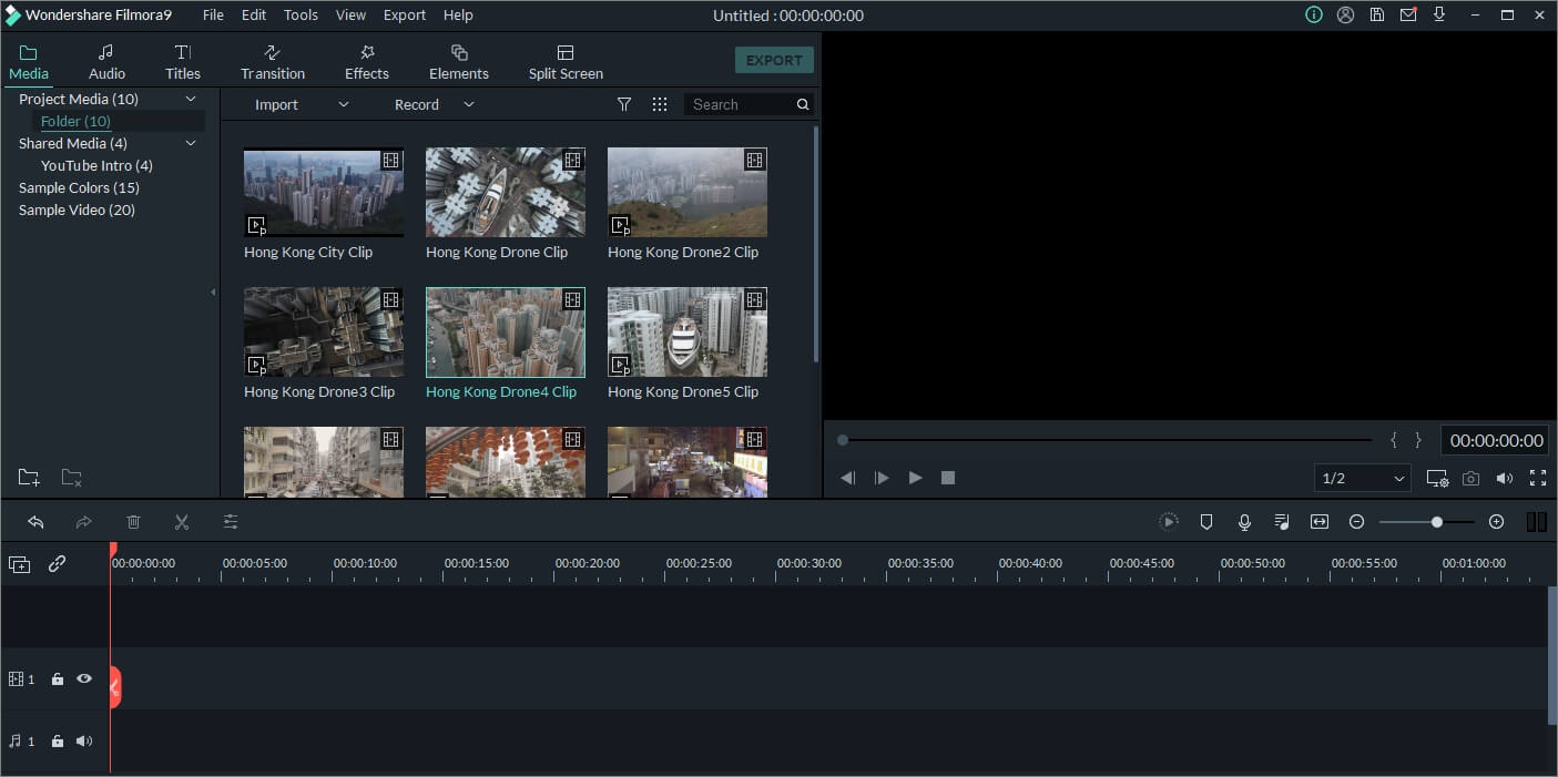 Filmora9 video editor editing interface