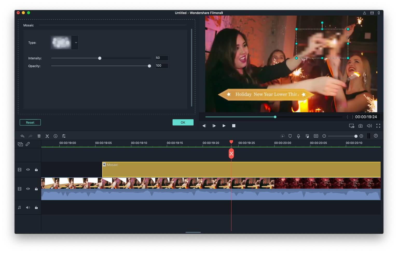Filmora9 do iMovie Alternative Adicione mosaico ao vídeo - ajuste