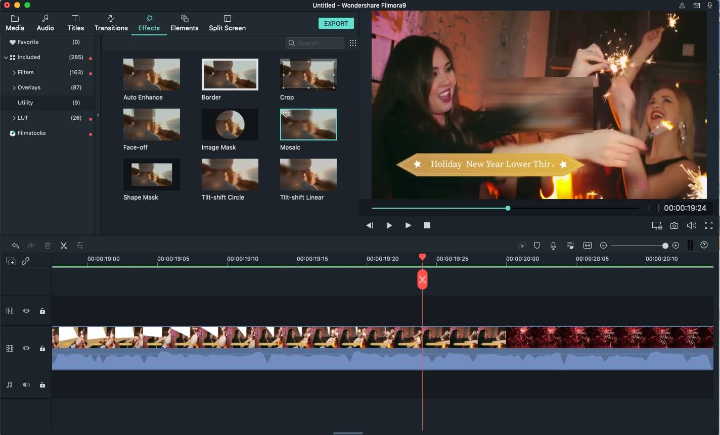 Filmora9 do iMovie Alternative Adicione mosaico ao vídeo