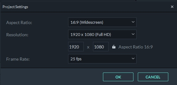 Filmora 9 Project Settings
