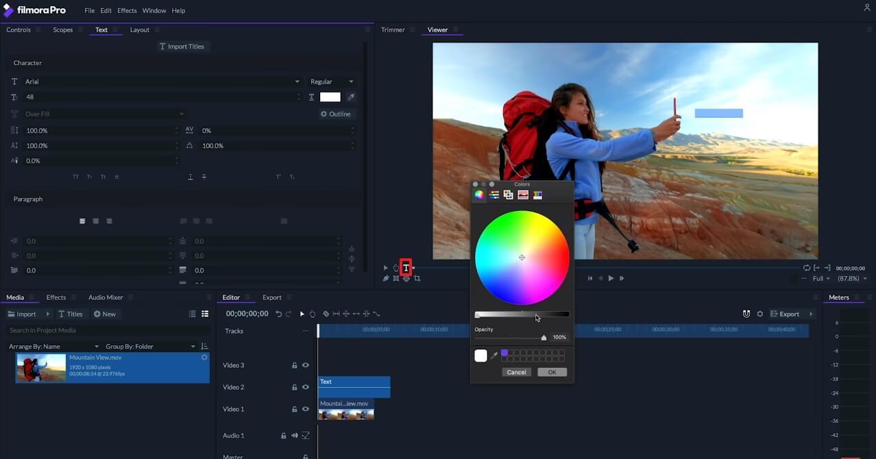 FilmoraPro Motion Tracking – Add Text