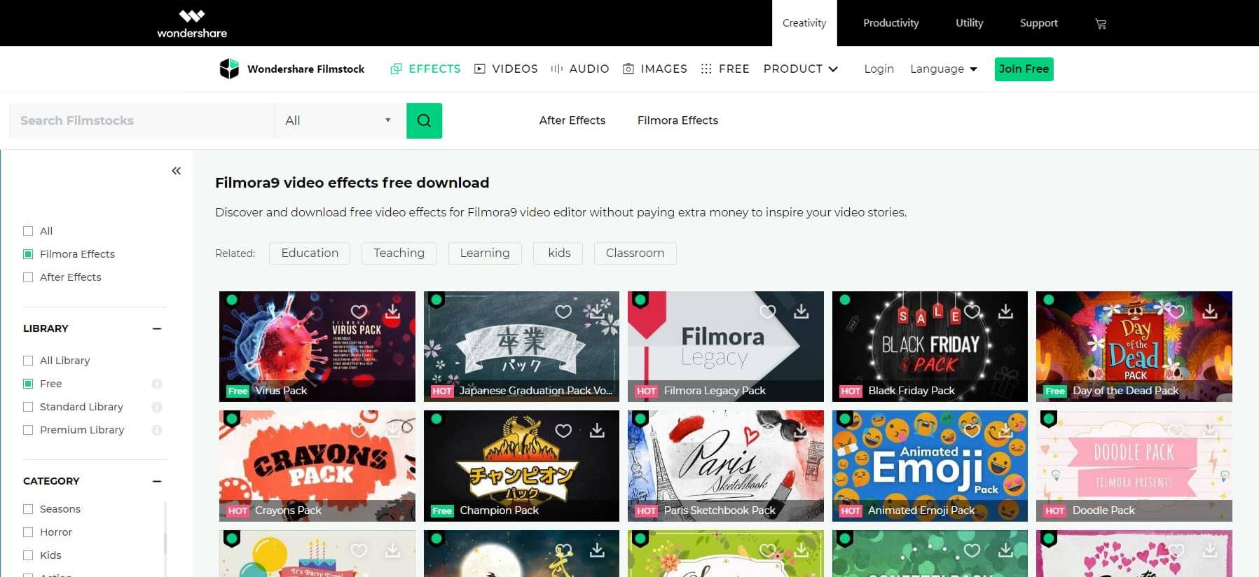 Filmora free video effects in Filmstocks