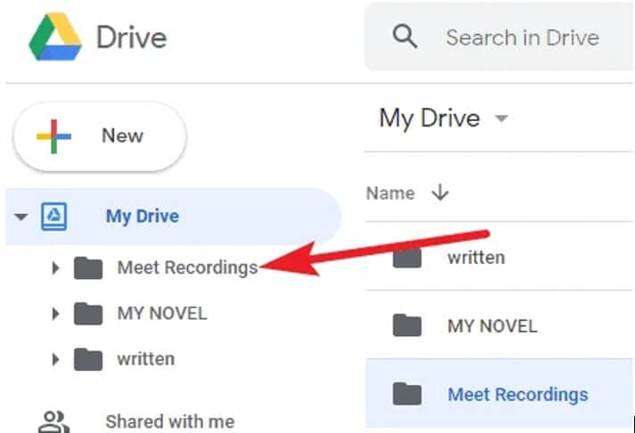 find recorded  Google Meet videos on Google Drive
