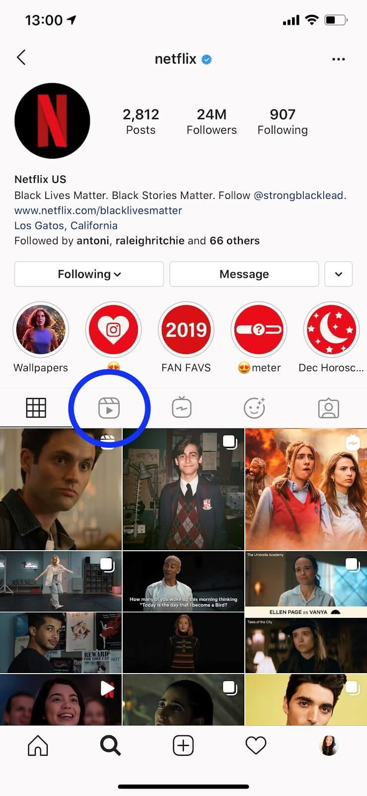 find instagram reels option