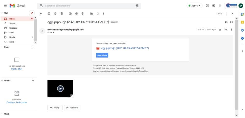 find recorded  Google Meet videos