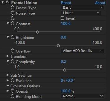 fractal noise setting