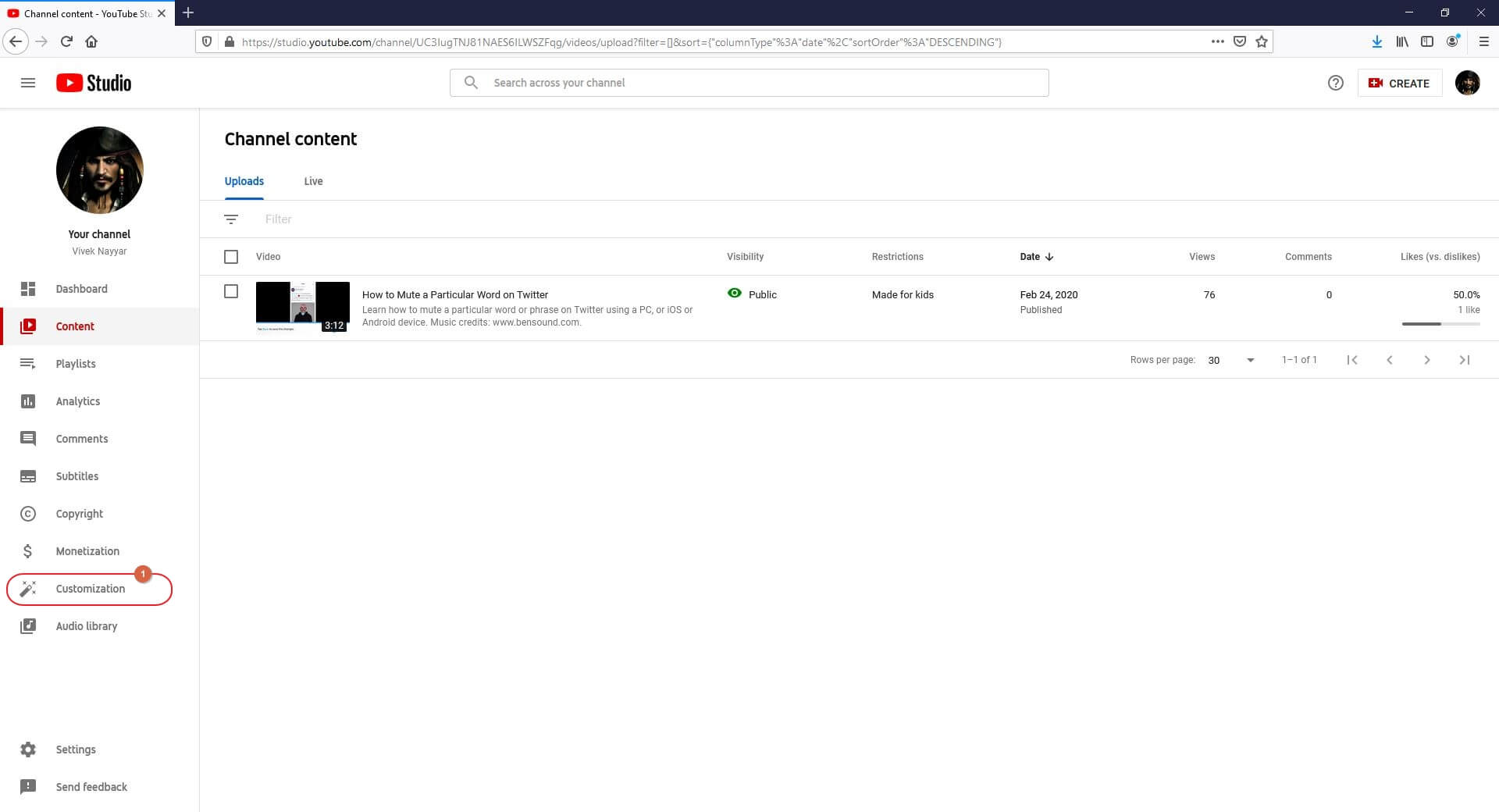 Get to YouTube Studio Customization Section