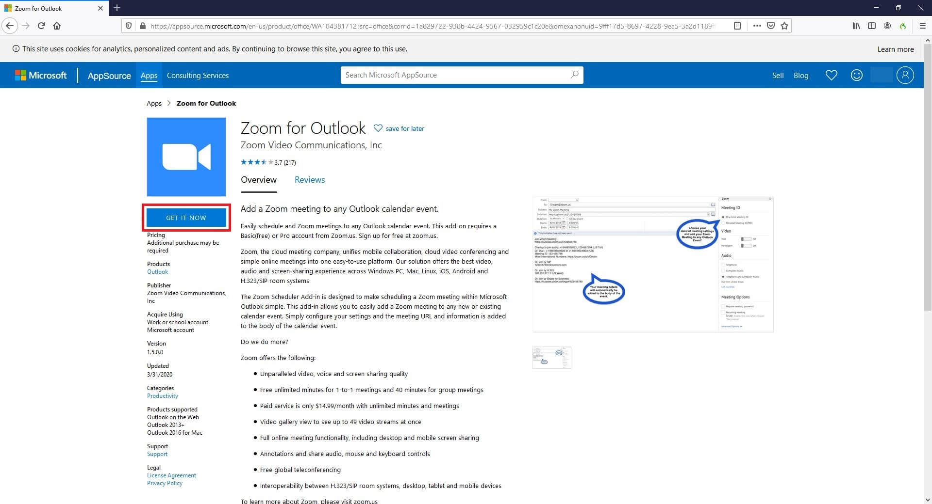Get Zoom Meeting for Outlook