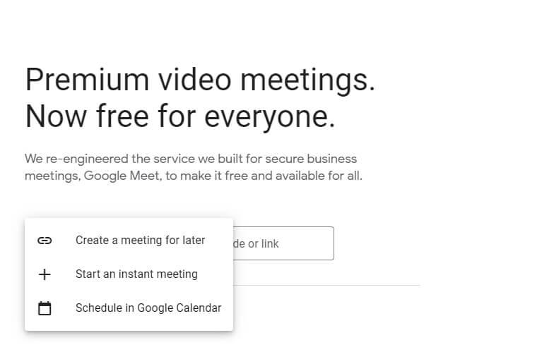 Google Meet Website Options