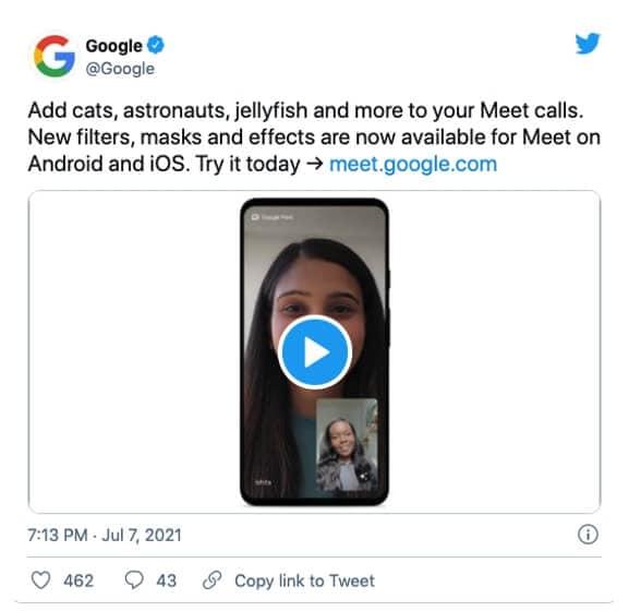 Google Meet AR Stickers