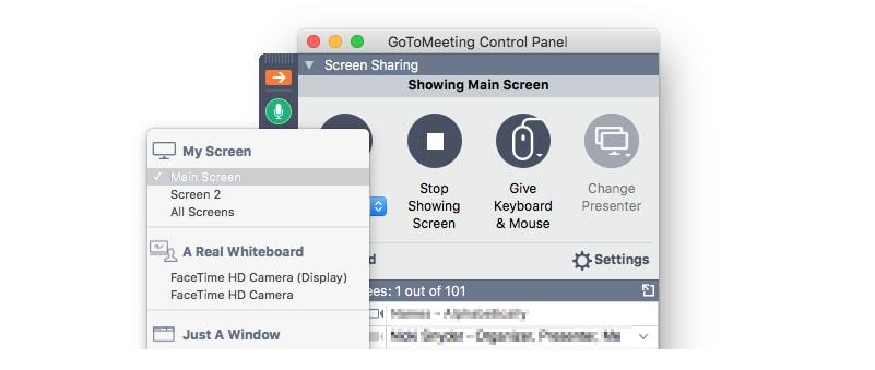 GoToMeeting Screen Sharing options