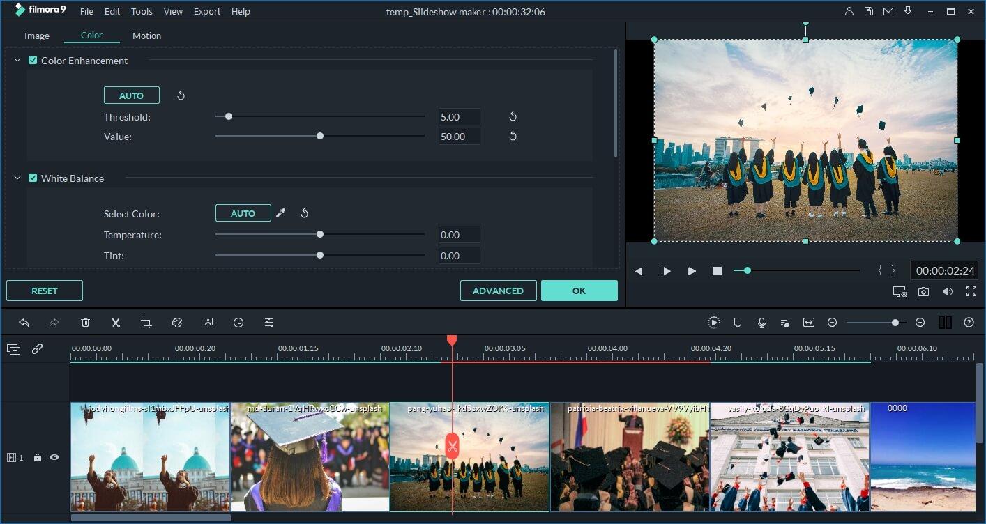 Faça um vídeo de formatura com o Filmora9 - correção de cores das fotos
