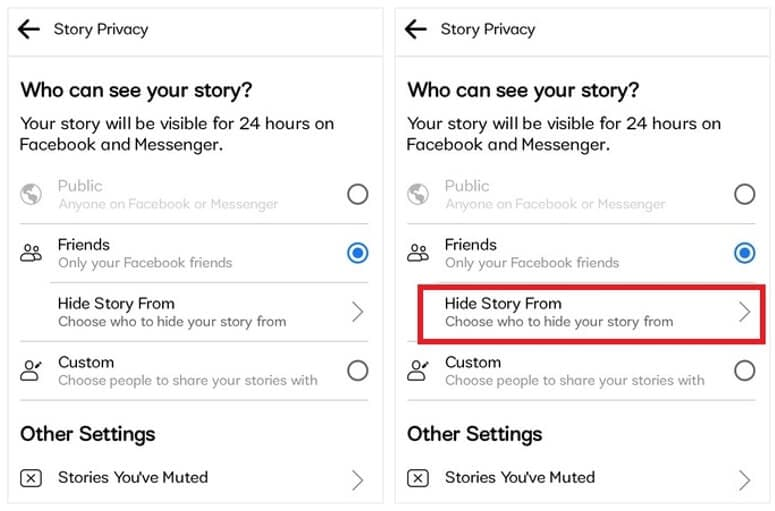 Facebook Story hide from specific person