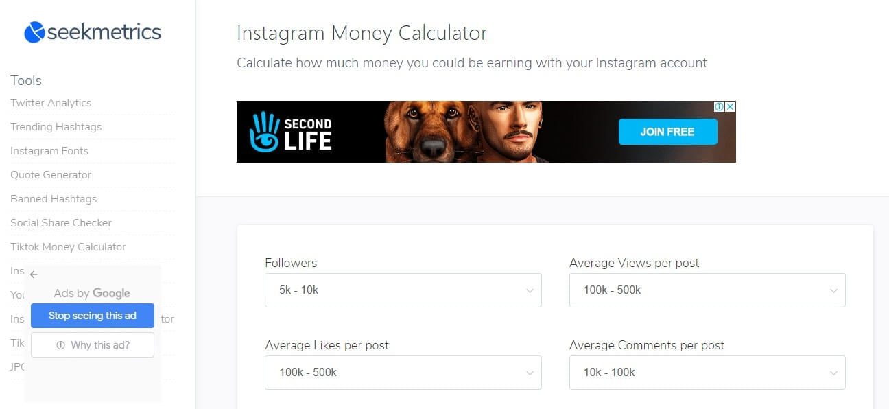 ig money calculator SeekMetrics