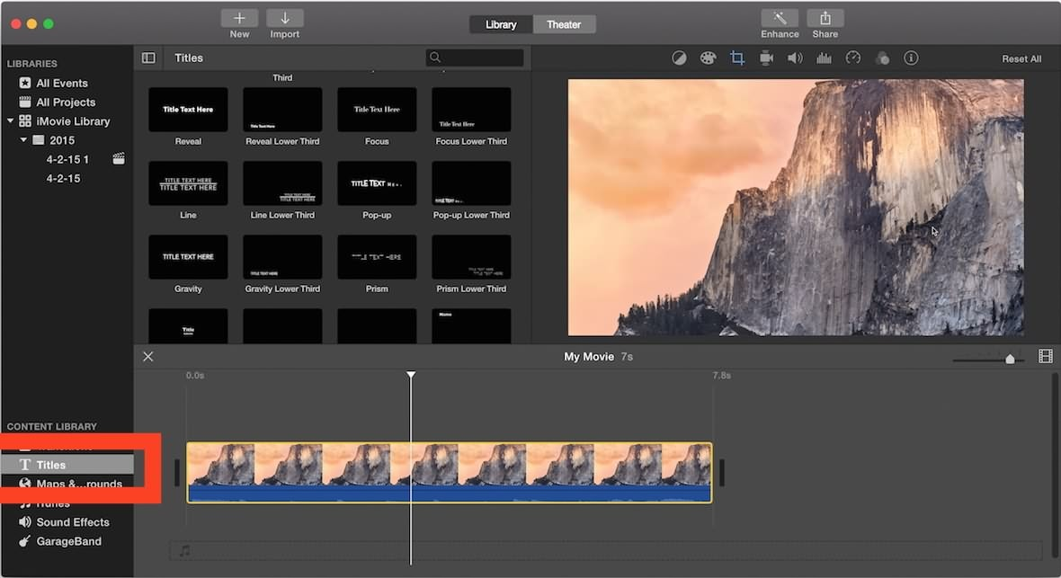 iMovie 10 add subtitles