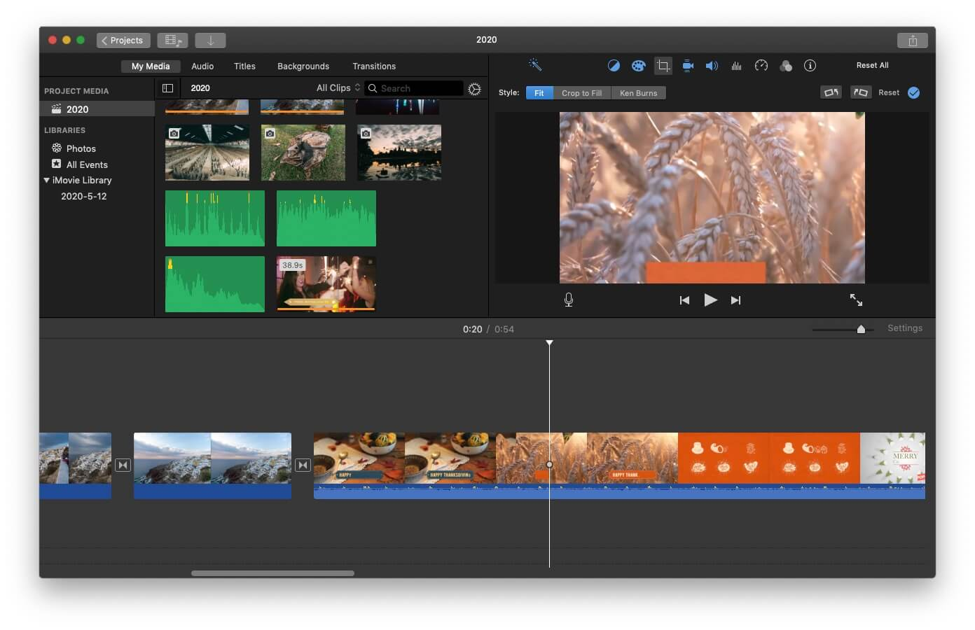 iMovie Ken Burns Effects