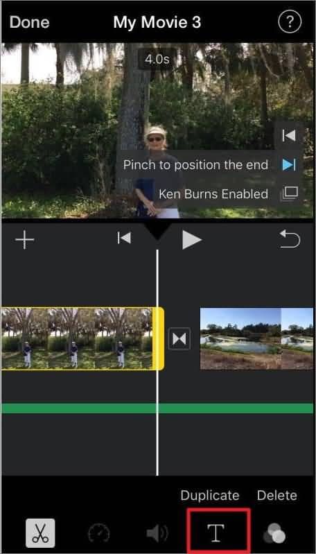iMovie for iPhone add text