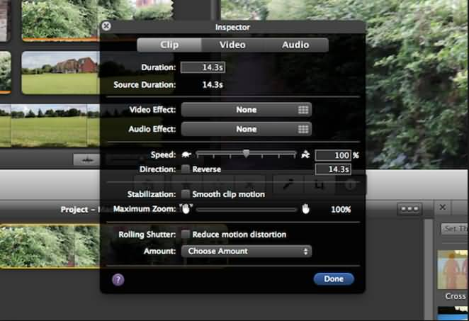 iMovie Reverse speed