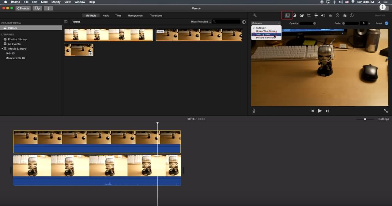 iMovie Side by Side Screen