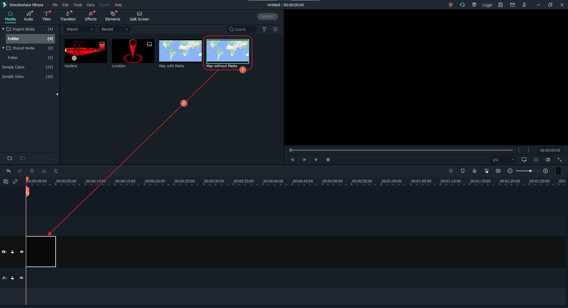 create animated travel map in Filmora X - import