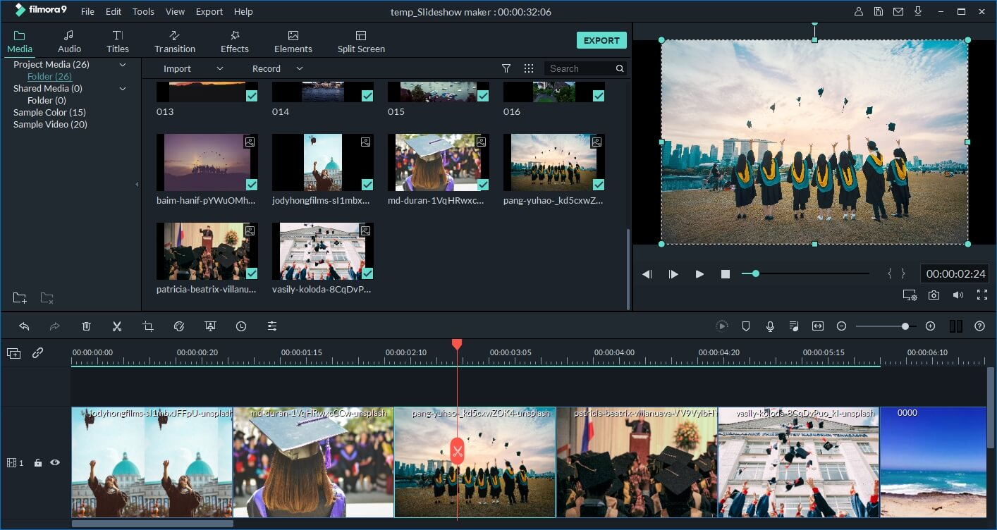Make graduation video with Filmora9 - import media