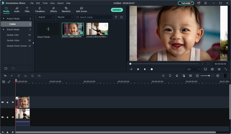 import reaction videos to Filmora